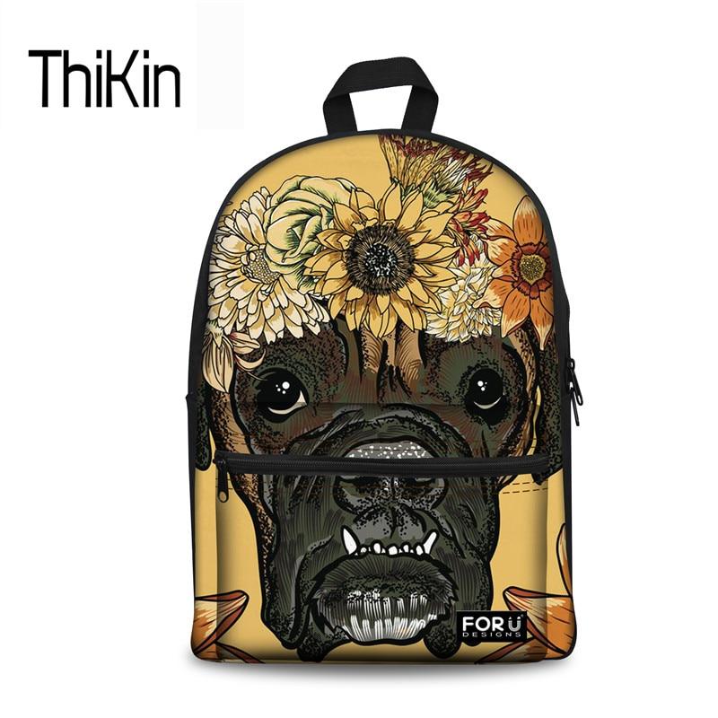 THIKIN Nationally Backpack For Girls Daisy Boxer Yellow Canvas Rucksack For Teenager Girls Kids Flower Brand Backpacks Schoolbag