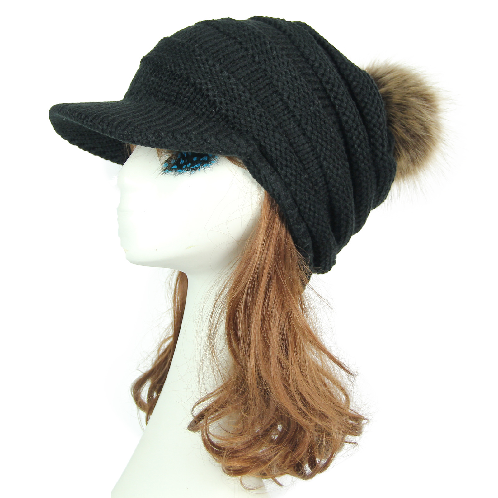 14997970e US $13.32 |Women Winter Warm Knit Hat Acrylic Snow Ski Caps With Visor Warm  Ponytail Caps for Women Cute Cable Knitted Winter Hats AA10060-in Berets ...