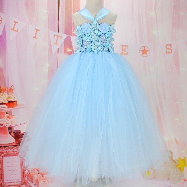 1ac2a51da fashion flower girls light blue tutu dress birthday vestido menina dress  for girl photo props tutu for baby party