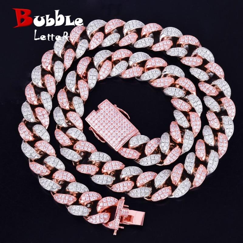 "20mm Heavy Silver Rose Colorful Zircon Miami Cuban Necklace Choker Men's Hip hop Jewelry Big CUBAN Chain 16"" 18"" 20"