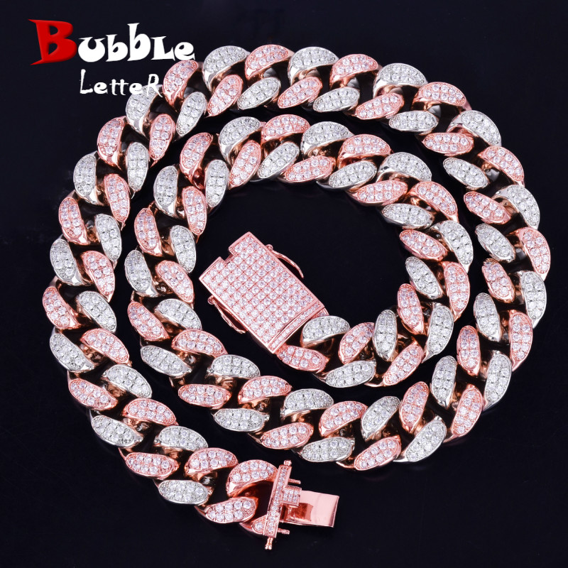 """20mm lourd argent Rose coloré Zircon Miami cubain collier Choker hommes Hip hop bijoux grande chaîne cubaine 16 """"18"""" 20""""-in Colliers chaîne from Bijoux et Accessoires    1"""