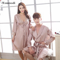 Couples Robe Sets  Love Sleepwear Long sleeve V-Neck Size Nightwear Men And Women Luxury Silk Robes