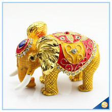 Hot Sale Enamel Craft Elephant Animal Shape Rhinestone Trinket Box