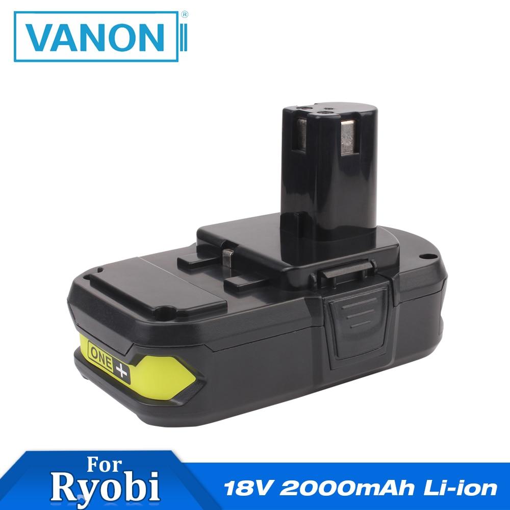 VANON for Ryobi 18V 2000mAh Rechargeable Power Tools Li ion ONE+ Cordless Drill Power Battery P102 Black 2.0Ah P108 P105