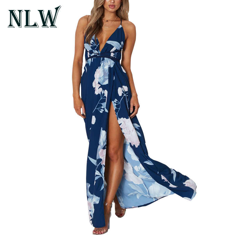 db0f560a09 NLW Floral Print Boho Women Dresses 2018 Summer Beach Party V Neck  Sleeveless Sexy Backless Maxi
