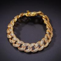 15mm wide Micro Paved Square AAA CZ Stone Bling Iced Out Round Cuban Chain Bracelets for Men Hip Hop Rapper Jewelry Gold Color
