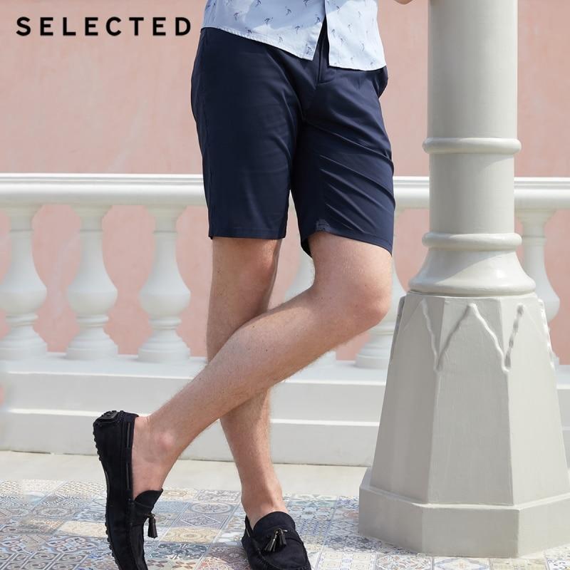 SELECTED Men's Cotton-blend Slight Stretch Pure Color Straight Fit Shorts C|4182SH525