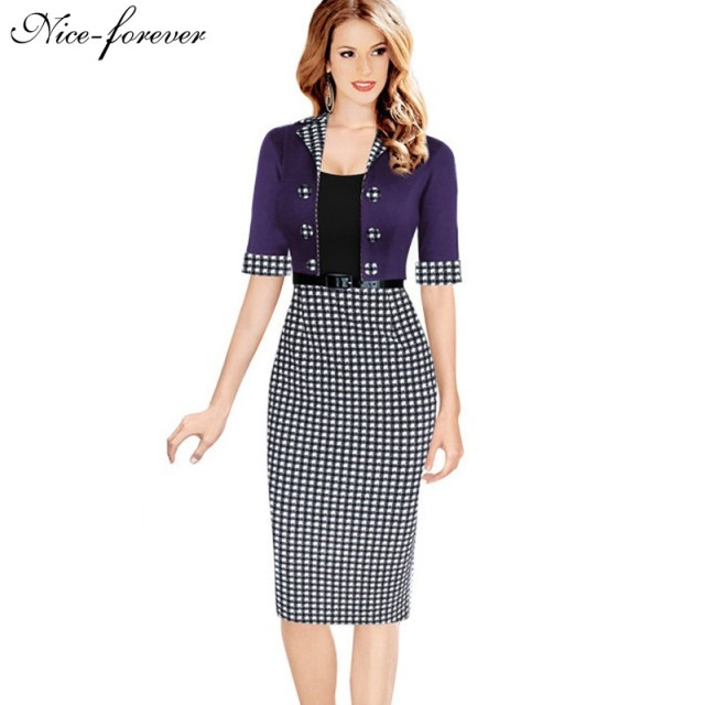 Nice-forever Faux Jacket Vintage Elegant Patchwork Summer Women Plaid Contrast Work Dresses Buttons Bodycon Pencil dress B222