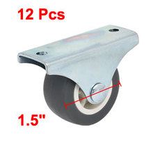 uxcell 12 Pcs Silent Design TPR Rubber 1.5 Inch Dia Wheel Rigid Top Plate Fixed Caster for Trolleys,Furniture,Rack,etc Hot Sale