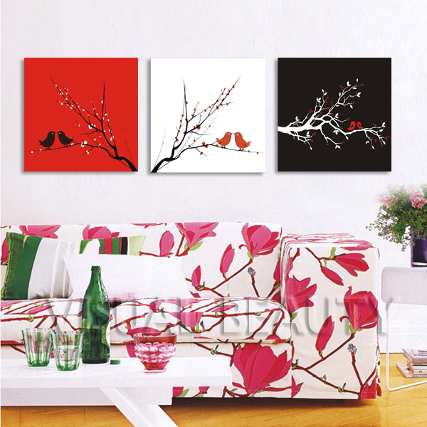 FREE SHIPPING Latest Design Flower Bird Tree Oil Painting For Wall Decor  Canvas Prints(Unframed)50x50cmx3pcs