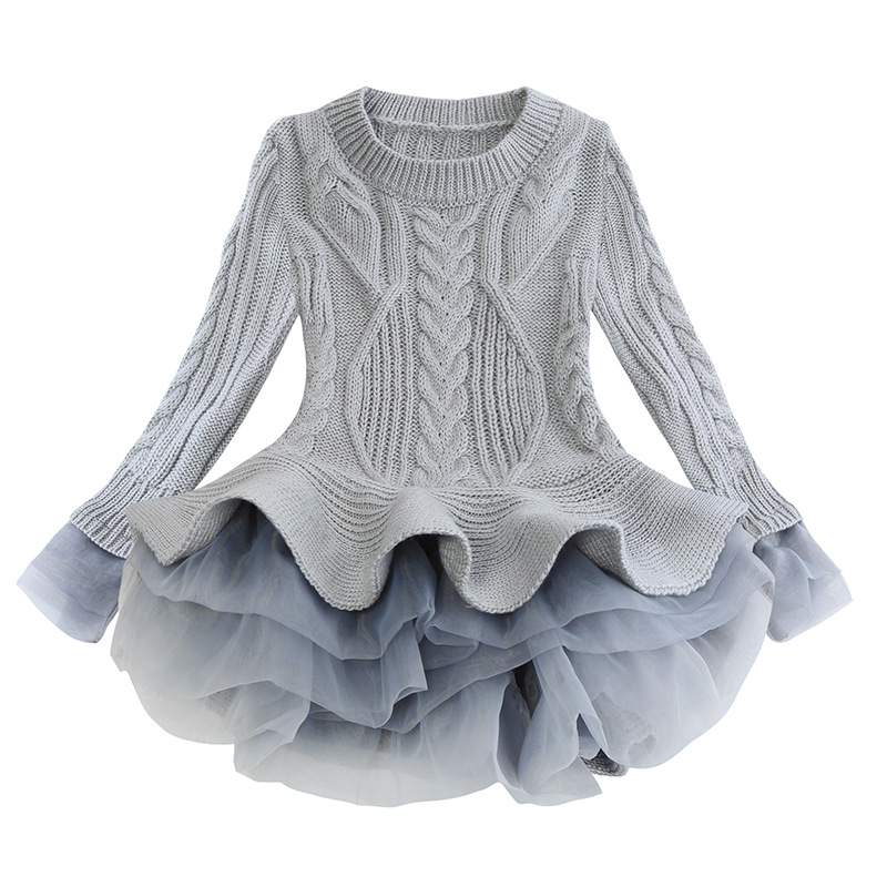 Kids Girls Knitted Sweater Winter Pullovers Crochet Tutu Dress Tops Clothes