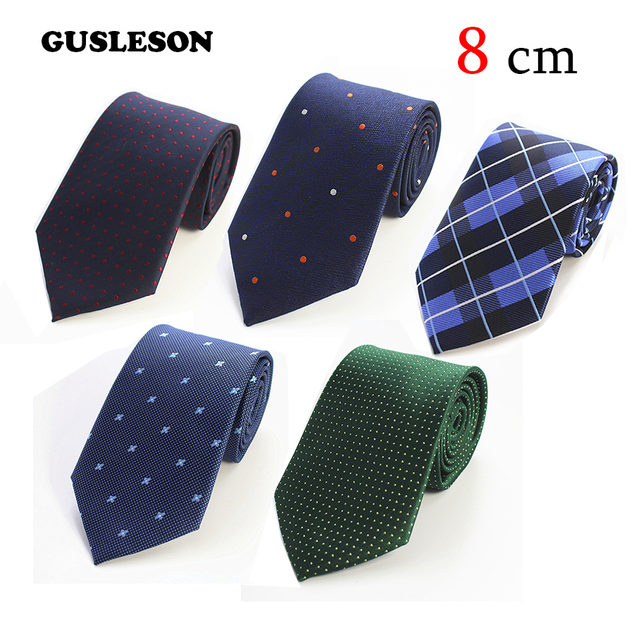 GUSLESON 8cm Ties 2017 New Brand Man Fashion Dot Striped Ties Hombre Gravata Tie Classic Business Casual Green Tie For Men