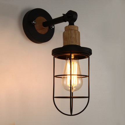 ФОТО Wooden Nordic Loft Style Vintage LED Wall Lamp Fixtures Industrial Wall Sconce,Wall light Arandela De Pared