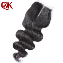 QueenKing Hair Brazilian Lace Closure Body Wave Remy Hair 3.5″x 4″ French Lace 10-18 Inches Natural Color Human Hair Closure