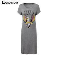 GLO STORY Women Short Sleeve Knitted Casual Dress 2018 Animal Print Knee Length Summer Dresses WPO