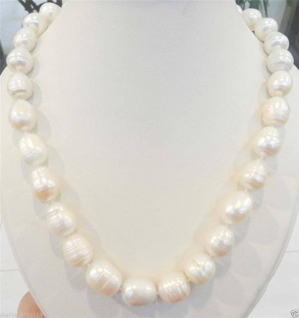 20 INCHES LONG. BIG RICE SHAPE 12-13MM WHITE REAL NATURAL PEARL NECKLACE AAA