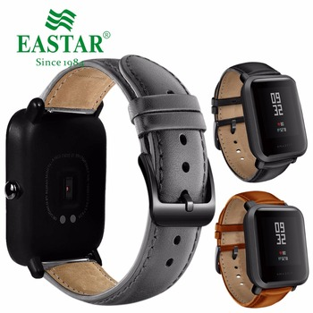 Eastar 20mm Leather Strap Black Buckle For Xiaomi Huami Amazfit Bip BIT Lite Youth Smart Watch Wearable Wrist Bracelet Watchband