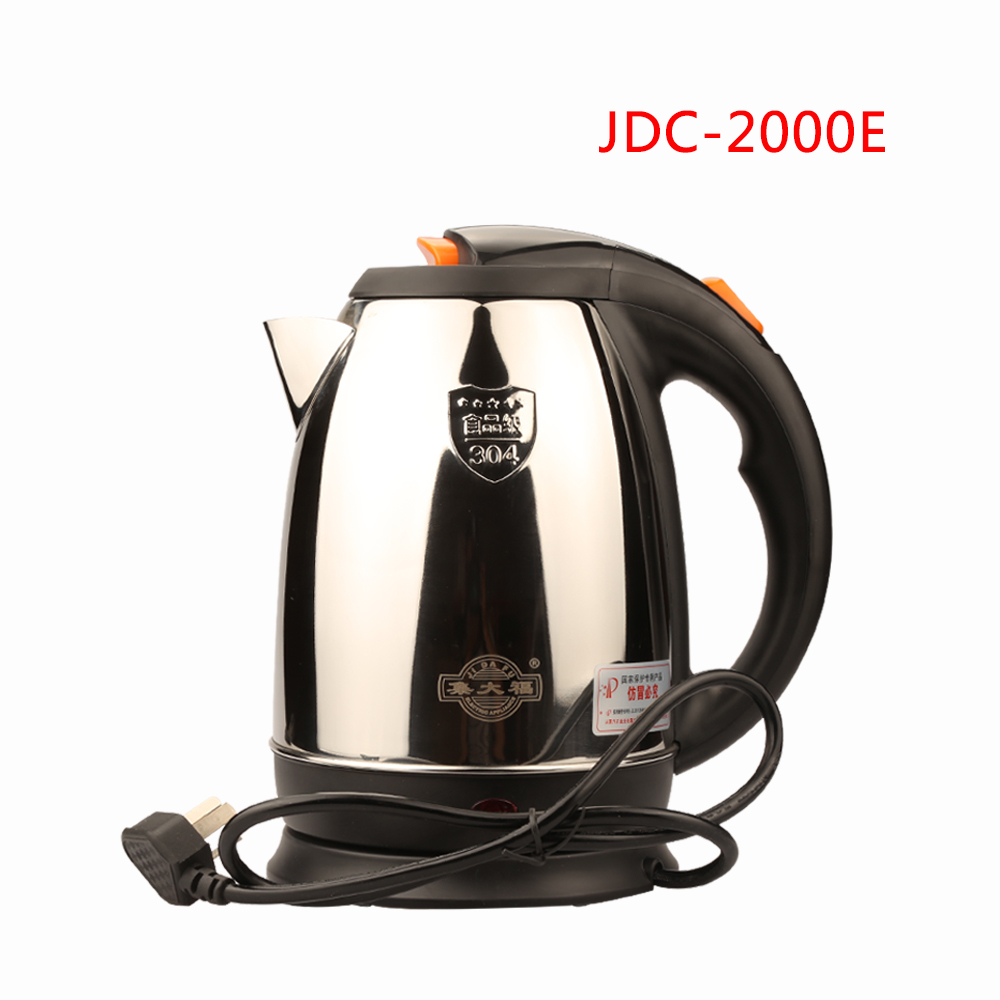 JDC-2000E Stainless Steel Cordless Electric Kettle 220V Electric Water Kettles 1500W 360 Degree Rotational Base Kett 2L plaid pattern universal 360 degree rotational zipper bag for 9 10 11 laptop white