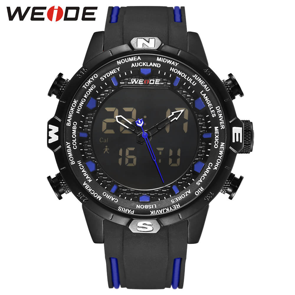 WEIDE Original Genuine Silicone LCD digital waterproof men's watch sport watches luxury brand clock saat fitness bracelet Black wholesale rgb 45w led fiber optic engine wifi voice control via app for all kinds fiber optics