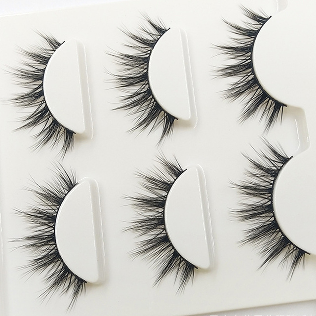 3D-09 Natural Tapered Black Terrier False Eyelashes Fashion Ball Smoke Makeup Fake Eyelashes Cross Messy Soft 3D Eye Lashes 2