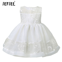 White Color Newest Birthday Baby Girls Dresses Christening Gowns Infant Newborn Babies Baptism Embroidered Princess Dresses