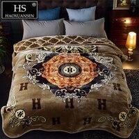 HS 230x200 см роскошные супер мягкий облачно одеяло двойной слои s для queen размеры Зима покрывало взрослых пушистые покрывала