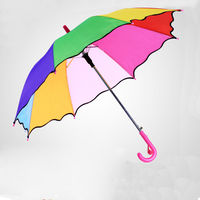 New Sun Rain Children Umbrella 8K Rib Lace 210T Colorful Hanging Cute Semi Automatic Long Handle