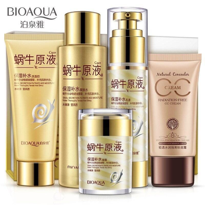 BIOAQUA Snail Mucus Moisturize & Replenishment Set Skin Care Anti-aging Anti-wrinkle Cleanser, Toner, Lotion, Cream, CC Cream chanel 5ml cc cc cream