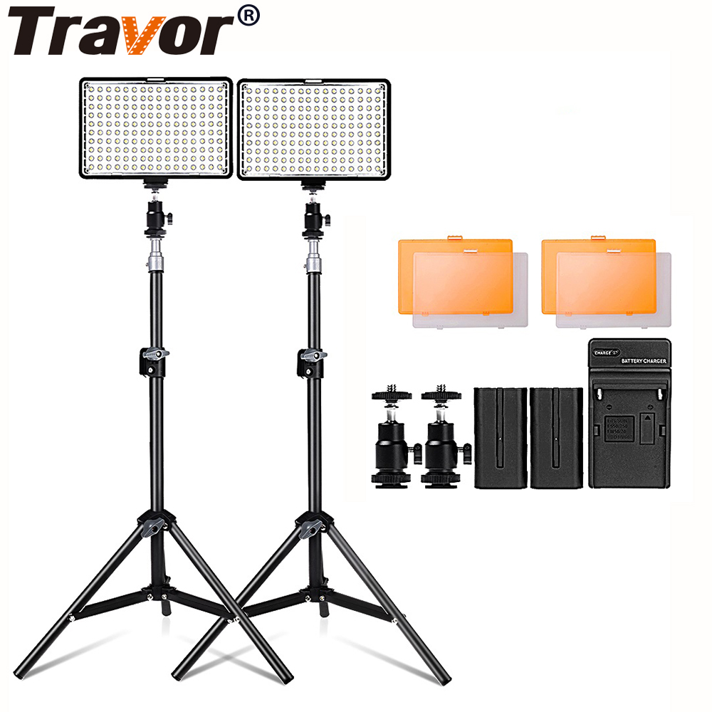 2 In 1 Led Video Light Kit With 30 Inch Light Stand 3200/5500K Camera Light Kit For Canon Nikon Sony DSLR Camera With Battery