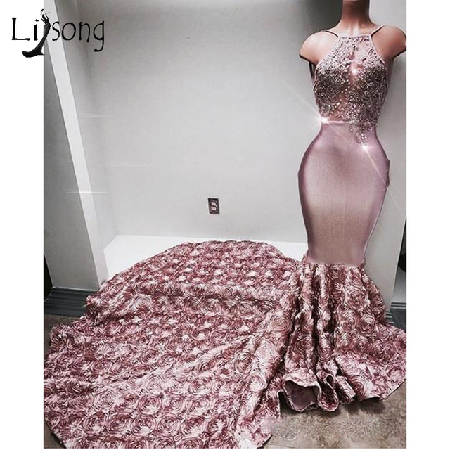 Abendkleider 3D Rose Flower Long Mermaid Prom Gowns Sexy Crystal Lace Backless Prom Dress 2018 Off Shoulder Vestido Longo