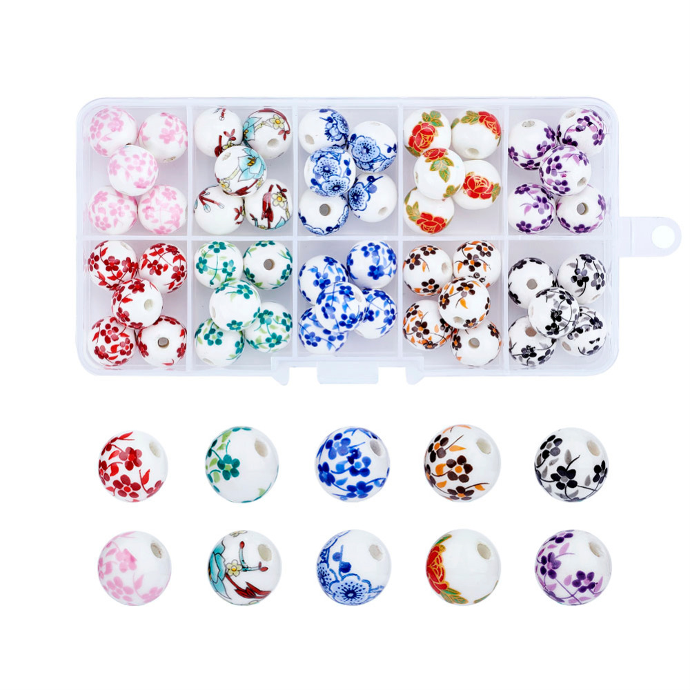 50pcs/box 3mm; 5pcs/compartment Dependable 12mm Mixed Style Round Handmade Porcelain Beads For Jewelry Making Diy,mixed Color,hole