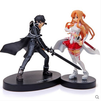 High quality Sword Art Online PVC Acton Figure Asuna & Krito Figure Toys 16cm set of 2 Free Shipping
