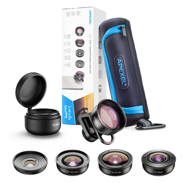 APEXEL optic High quality 5 in 1 Camera Phone Lenses 4K Wide macro Fisheye Tele super wide Lens for iPhonex xiaomi allsmartphone 5