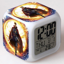Marvel heroes Doctor Strange Figure Speelgoed Alarm Clock LED Colorful Flash Touch Light Figurine Watch Toy