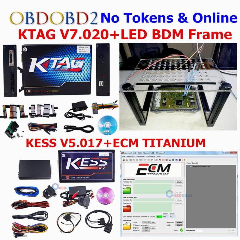 все цены на  Unlock Version K-tag KTAG V7.020 ECU Programmer+KESS V5.017 KESS 5.017 OBD2 Manager Tuning Kit+LED BDM Frame Use Online ECU Tool  онлайн