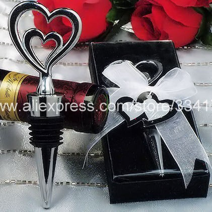 hot sell 6pcs/set wedding gift prize red wine stopper Two Hearts Are Better Than One bottle favor