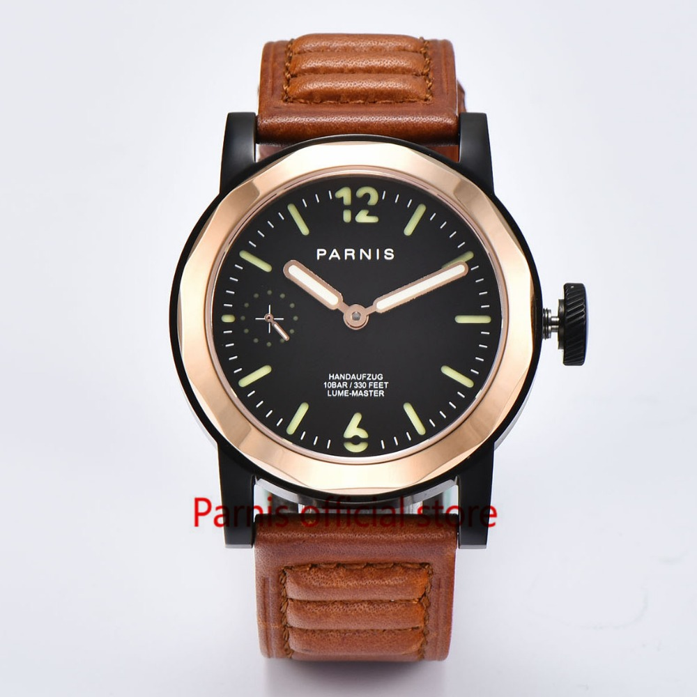 Casual Men Watch 43mm Parnis Watches SeaGull 3600 Hand Winding Movement Black Dial Green Luminous Numbers