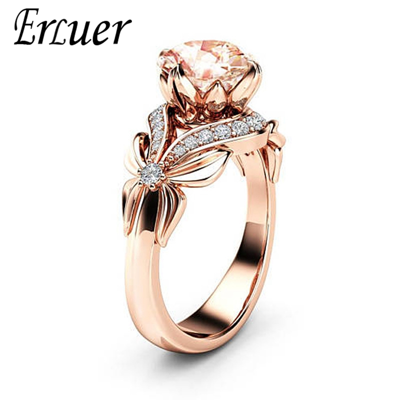 Cz-Rings Butterfly-Ring Crystal Rose Fashion Jewelry Round-Finger Wedding Birthday-Love-Gifts