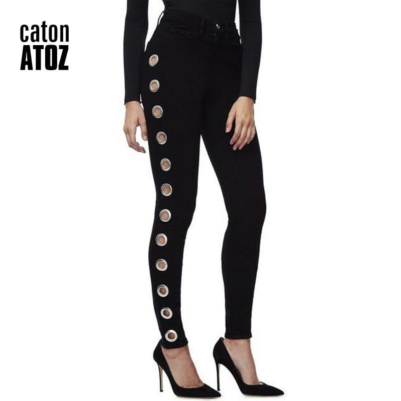 Catonatoz 2167 High Street Side Eyelets Jeans Black Skinny Denim Jeans Women Pants Female Jeans For Woman
