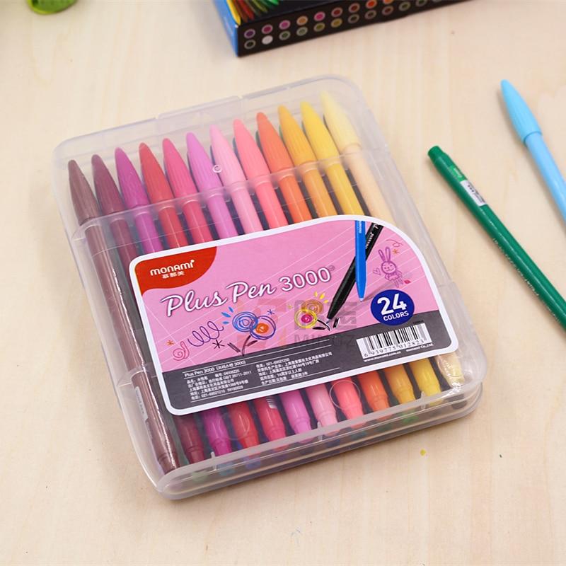 Korea MONAMI 3000 Color Gel Pen Watercolor Pen 12 / 24-color Fiber Pens Set Fine Line Pen 12/ 24 PCS