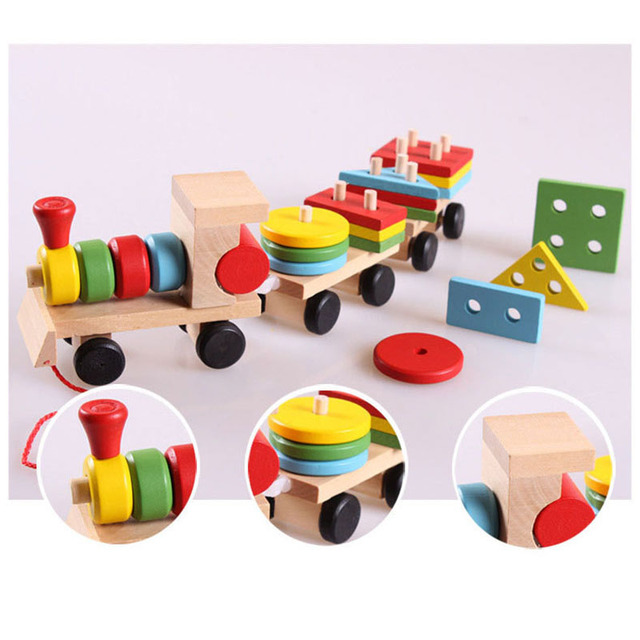 Children Learning Educational Toys Geometric Shape Wooden Building Blocks Wood Three Small Trains Rope Traction Toy Kids Gift