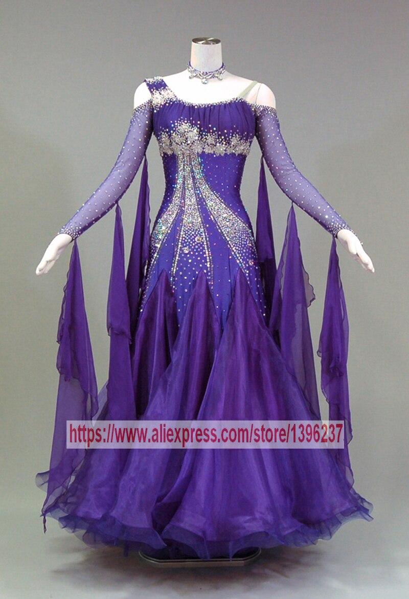 Waltz Dance Dresses Lady Elegant Profession Purple Ballroom Competition Dance Costume Women Standard Ballroom Dancing Dress