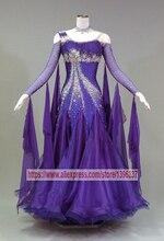Вальс танец Платья для женщин женские элегантные фиолетовые профессии индивидуальный заказ Танго Костюмы для фламенко современного Костюмы для бальных танцев конкурс Танцы платье