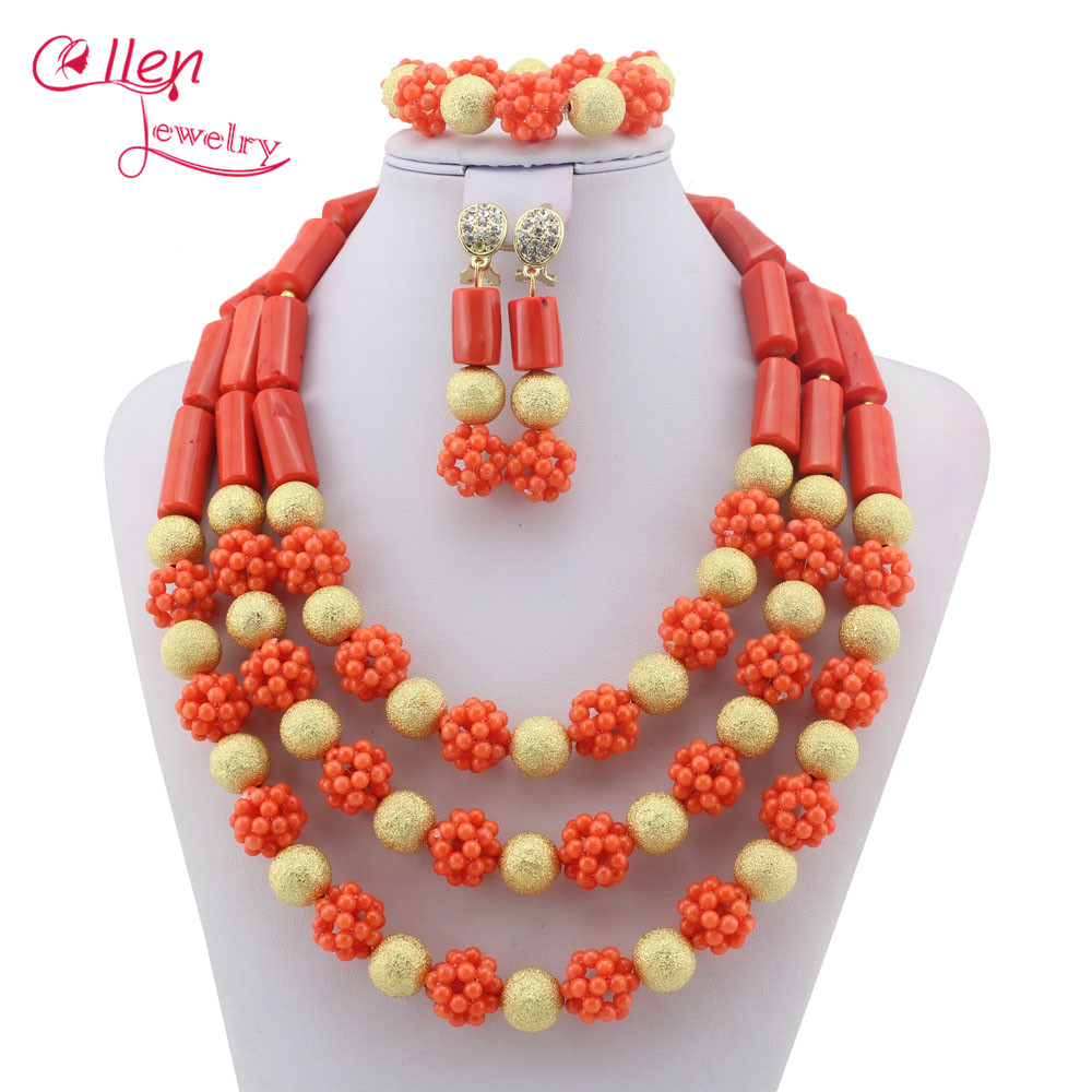 Magical 2019 womens Jewelry Coral Beads African Jewelry Set  Nigerian Wedding Necklace  Jewellery parure Free  Shipping W9027Magical 2019 womens Jewelry Coral Beads African Jewelry Set  Nigerian Wedding Necklace  Jewellery parure Free  Shipping W9027