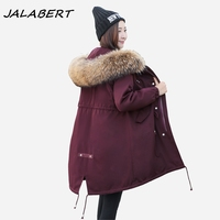 2017 Autumn Winter New Pike Jacket Female Long Large Size Big Raccoon Fur Collar Hooded Women
