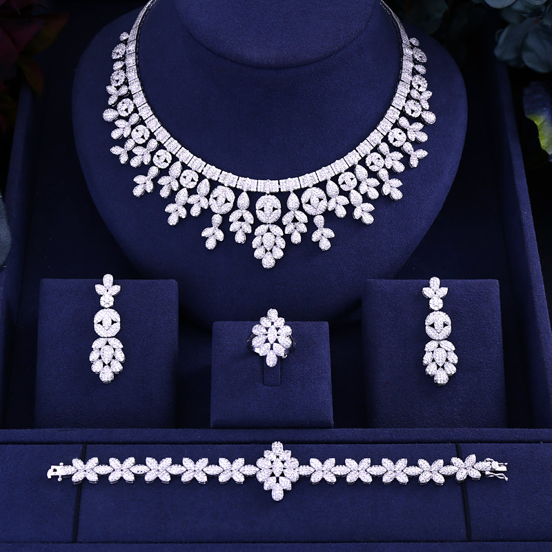 Accking Hotsale African 4pcs Bridal Jewelry Sets New Fashion Dubai Full Jewelry Set For Women Wedding Party Accessories Design