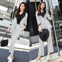 lacing Striped Pant Suit for Women Turn down Collar Blazer Jacket & Elastic Waisted Pants Casual Female Suits Work Business Set