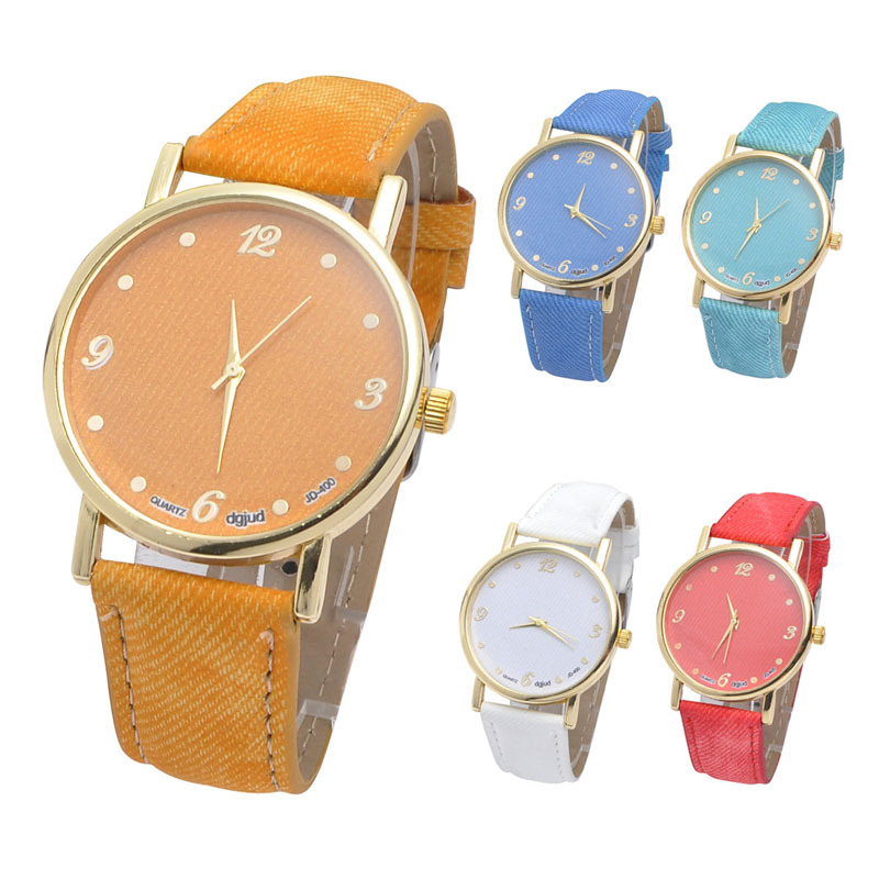 New Fashion Women Men Unisex Denim Cloth Analog Quartz Strap Watch Wrist Watch In analog watch