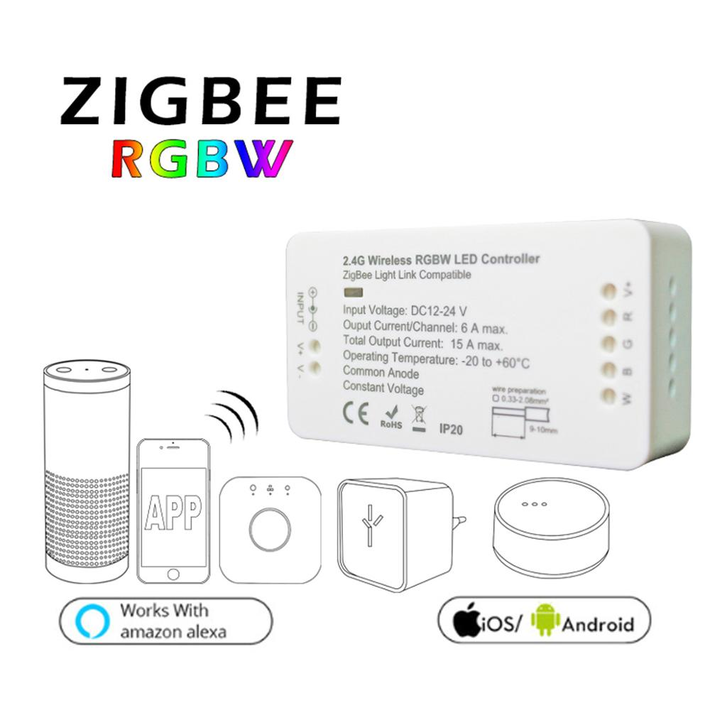 ZIGBEE ZLL bridge RGBW LED Controller dimmer strip Controller DC12/24V comptible with amazon echo plus hue zll standard home smart rgb rgbw zigbee led strip controller zigbee app control zll light hue compatible with echo plus osram lightify wifi