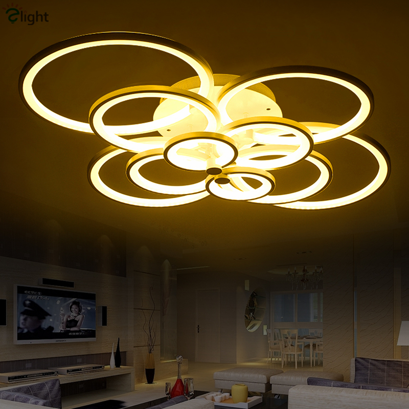 Nordic Acrylic Rings Led Ceiling Chandeliers Creative NiteCore Dimmable Led Chandelier Lighting Living Room Led Chandelier
